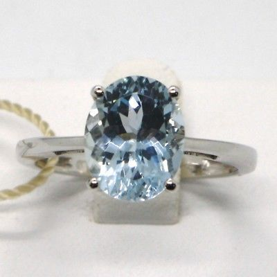 SOLID 18K WHITE GOLD BAND RING WITH OVAL AQUAMARINE 2.62 CARATS, MADE IN ITALY