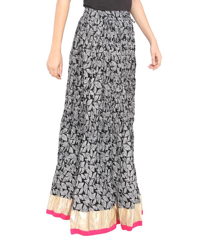 Pink Border Leaves Jaipuri Skirt