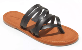 NEW Universal Thread Women's Black Maritza Multi Strap Toe Slide Sandals