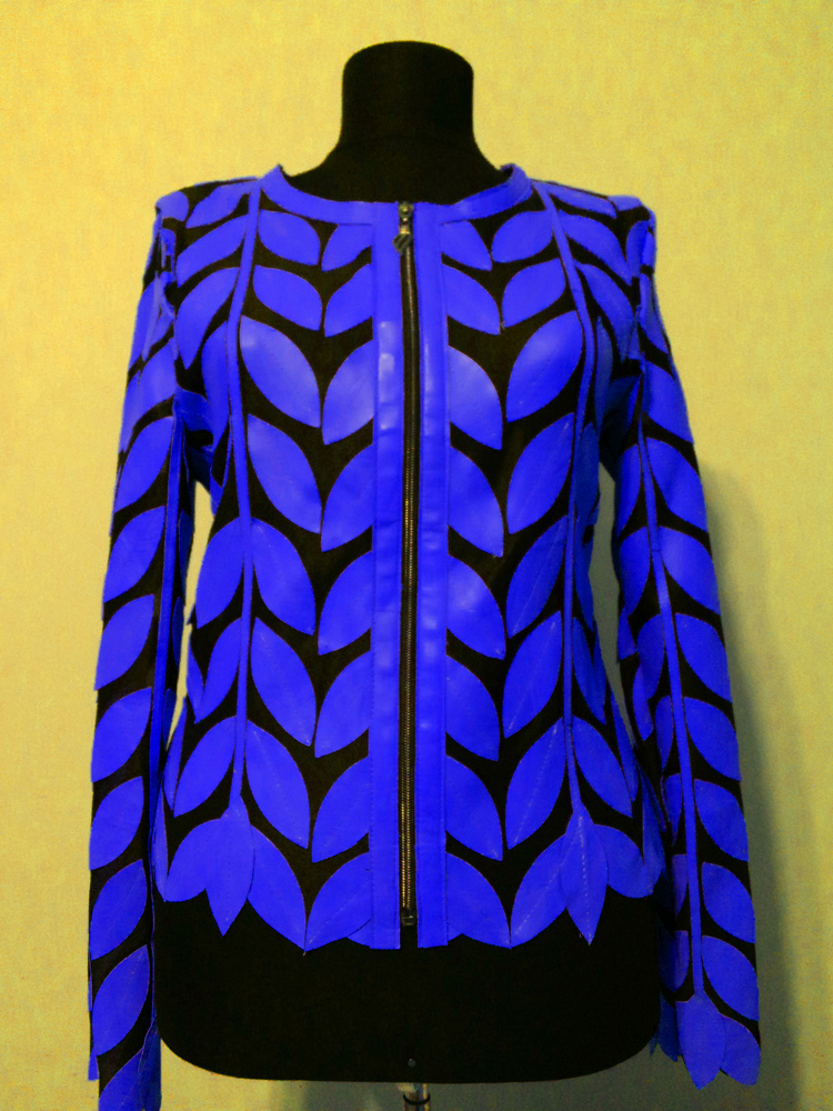 Round Neck Light Blue Leather Leaf Jacket Womens All Colors Sizes Zip Short D11