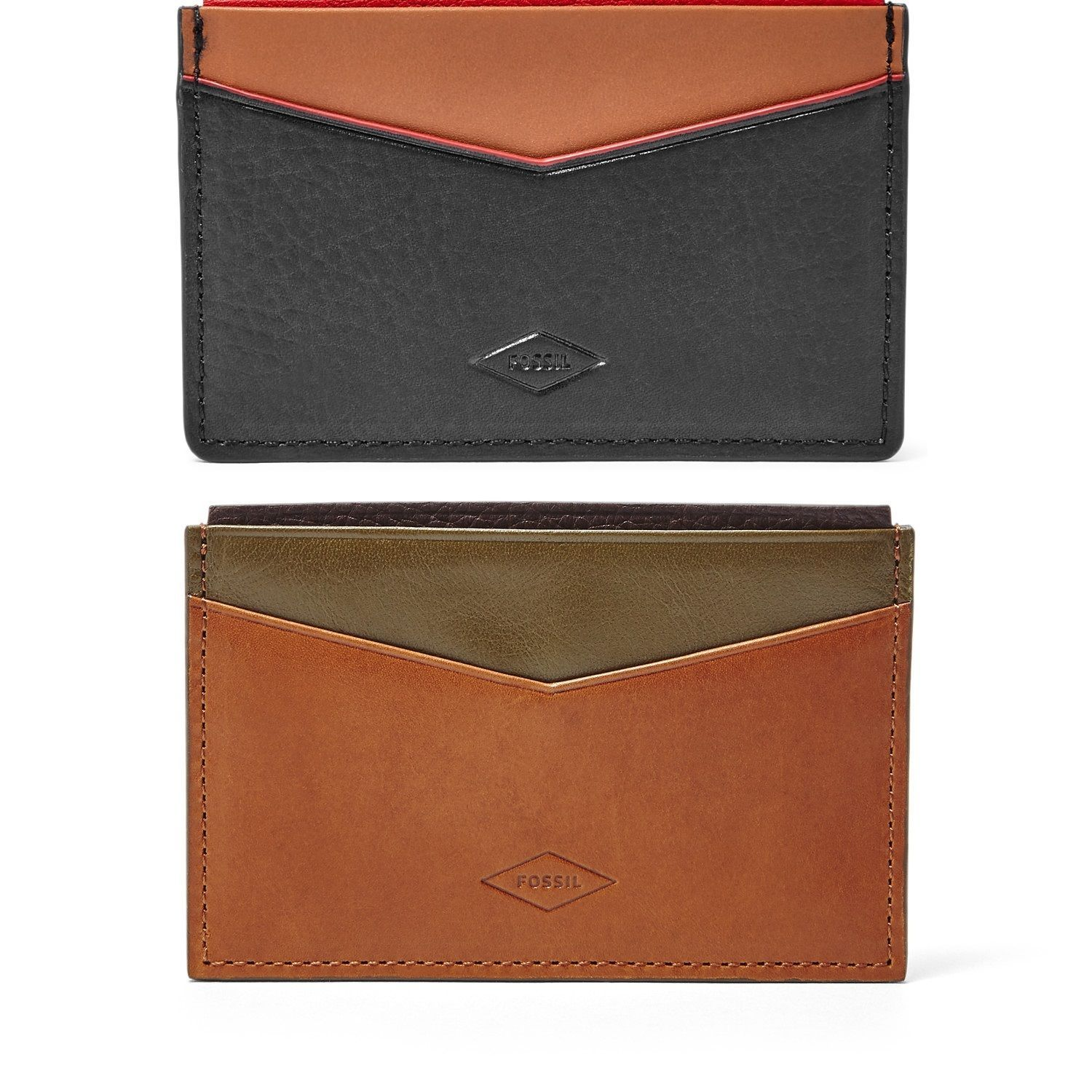 Primary image for Fossil ELLIOT CARD CASE, ML3716P Leather BLACK or SADDLE