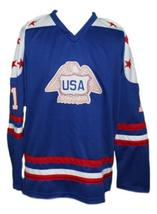 Custom Name # Team USA Canada Cup Hockey Jersey New Blue Lopresti #1 Any Size image 4