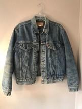 Vtg M Levis WPL 423 gray blanket lined denim Trucker Jean jacket  Distre... - $139.89