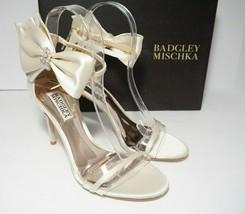 Badgley Mischka Fran Bow Ankle Strap Sandals High Heels Ivory Satin Size... - $119.79
