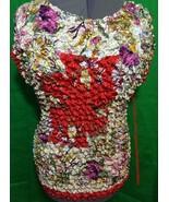 F C Crinkle Stretch Plus Size Blouse Floral Design Size 2X Short Sleeve - $11.30