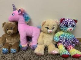 Build A Bear Plush Lot (4) - Unicorn Tie Dye Leopard Bear Belle Beauty B... - $29.02