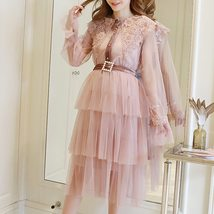 Maternity Dress Solid Color Lace Patchwork Waist Tied Dress image 3