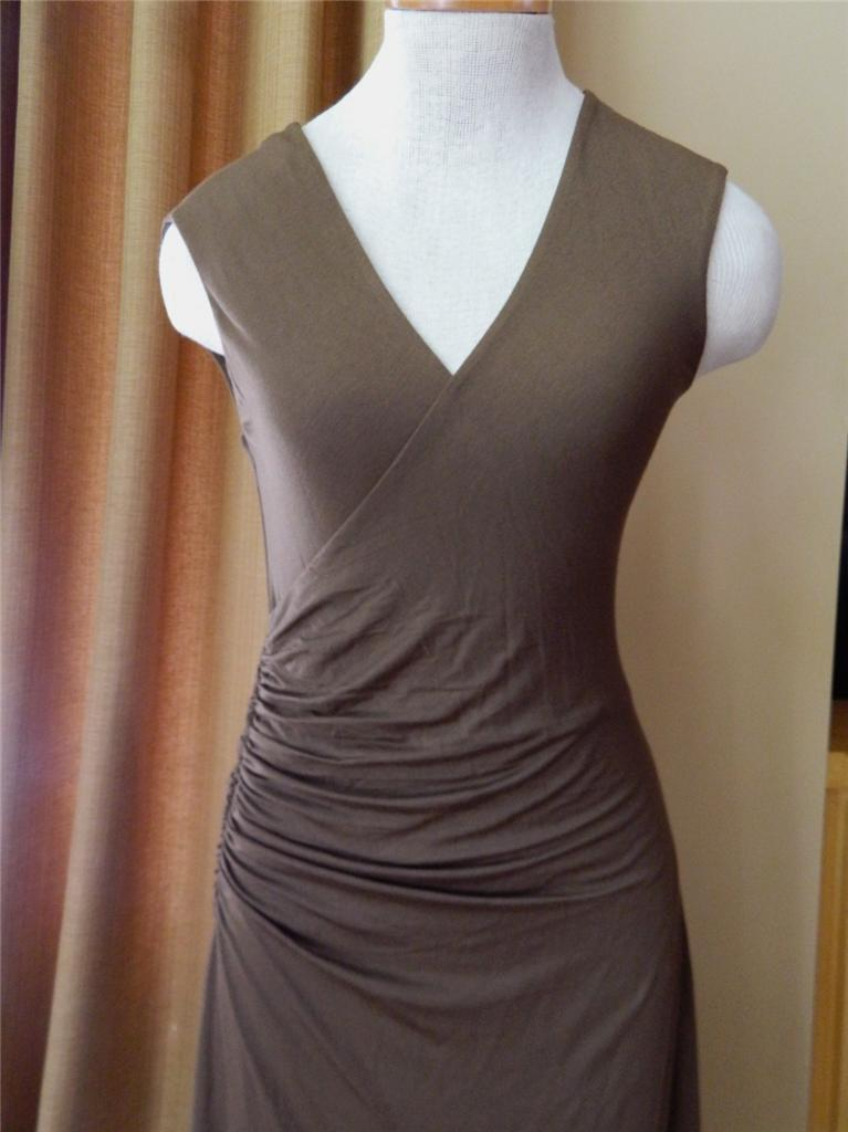 RALPH LAUREN BLACK LABEL Dress Ruched Wrap Brown Jersey S NWT $598
