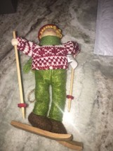 wooden christmas ski ornament - $14.55