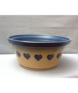 Vintage Stoneware Crock Bowl Tan Blue Stars Large - $60.00
