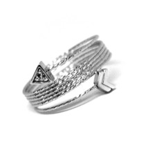 18K WHITE GOLD MAGICWIRE MULTI WIRES RING, ELASTIC WORKED SNAKE, ARROW, TOPAZ image 2