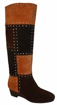 Michael Kors Bromley Women's Suede Patchwork Luggage Stud Tall Boot US 5.5 - £75.34 GBP