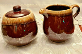 Vintage McCoy Pottery Brown Drip Glaze Creamer and Covered Sugar Bowl Set 7020 image 5