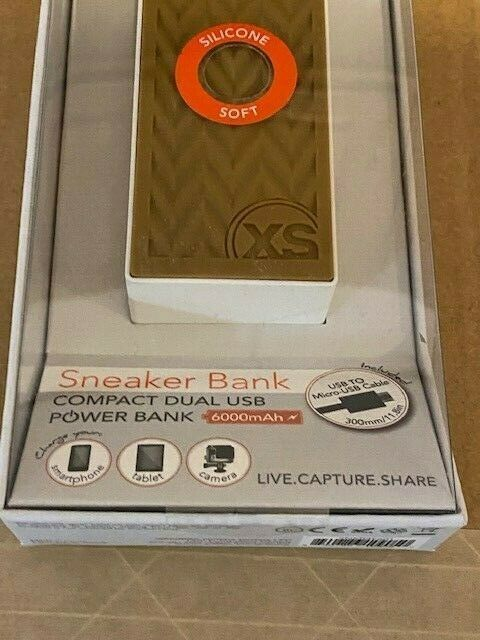 XSories Sneaker Bank White Compact Dual USB Power Bank 6000mAh Brand New In Box