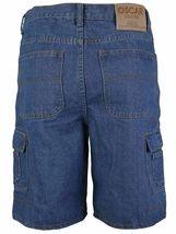 Men's Premium Cotton Multi Pocket Relaxed Fit Stonewash Denim Jean Cargo Shorts image 14