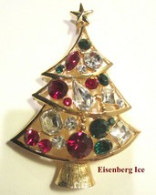 Large 3 Tier EISENBERG ICE Multicolored Christmas Tree Rhinestone Brooch... - $149.95