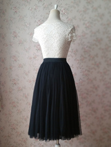 Women BLACK Midi Tulle Skirt Black Plus Size Tulle Midi Skirt Outfit Party Skirt image 5