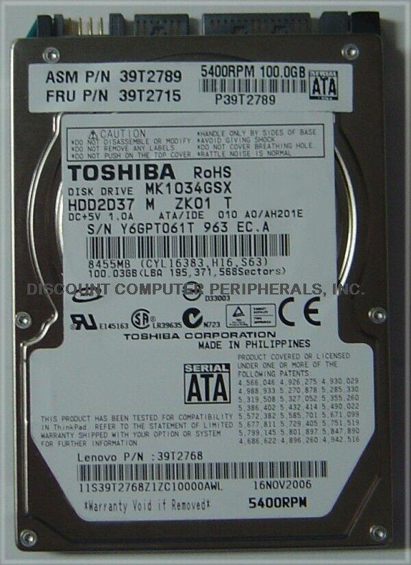 "New 100GB SATA MK1034GSX 2.5"" 9.5mm Hard Drive Toshiba HDD2D37 Free USA Shipping"