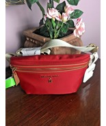 New Michael Kors Fanny Pack Waist Red Nylon Adjustable Belt Bag  B15 - $88.19