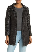 NEW Via Spiga S Small Zig Zag Quilted Jacket Detachable Hood Full Zip Bl... - $44.24