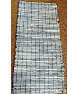 "Blue & Purple Denim Woven Rag Rug Hand Loomed 47"" x 22"" New USA Made   - $41.58"