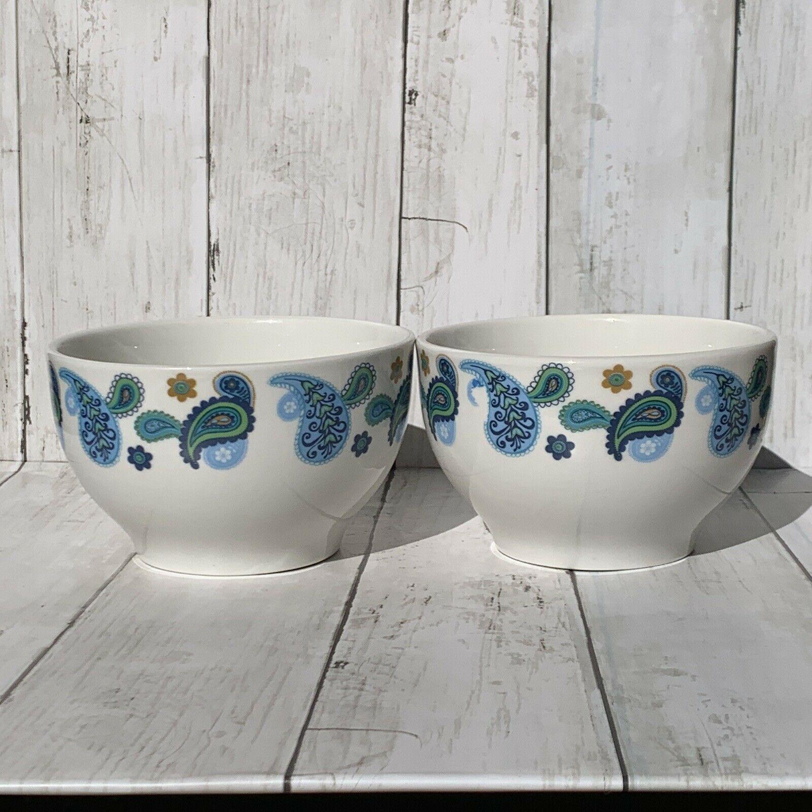 Royal Norfolk Set 2 Blue Paisley Cereal Bowls Stoneware Bowl bohemian chic Boho - $19.79