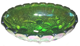 Indiana Glass Company Irridescent Green Oval Center Fruit Bowl Vintage 1... - $39.59