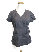 Koi Scrub Top Sz XS Womens Grey Cargo Blouse Shirt  Kathy Peterson Nurse... - $17.99