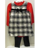 JUST ONE YOU CARTER'S RED BLACK BUFFALO CHECK DRESS OUTFIT 18 MTHS 3 PIE... - $12.99