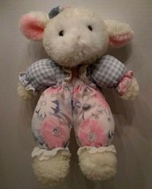 Commonwealth Vintage Sherpa Lamb Daisy Plaid Lace Soft Plush Toy Lovey 1... - $187.11