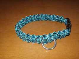 """Dog Collar Blue and Black Paracord 13"""" Non Adjustable Handcrafted - $7.00"""