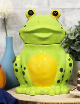 Whimsical Smiling Green Spotted Frog Ceramic Cookie Jar Container Figuri... - $30.99
