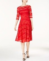 Sangria Womens Illusion Sequin Lace Fit-and-Flare Midi Dress Size 4  MSR... - $24.74