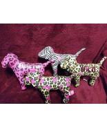 Victorias Secret PINK Dog Lot Of 4 Animal Print Dogs Plush Stuffed - $46.93