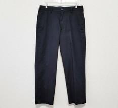 Izod Mens Khaki Pants 32x30 Black Cotton Flat Front Slacks Straight Fit Chino - $26.80