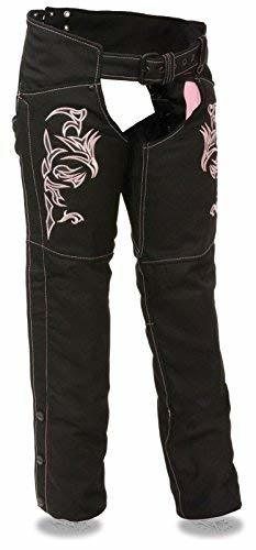 Primary image for WOMEN'S MOTORCYCLE MOTORBIKE TEXTILE CHAP W/PINK REFLECTIVE EMBROIDERY BLACK NEW
