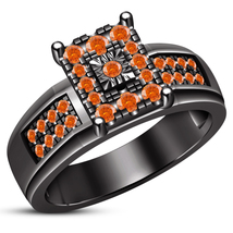 Round Cut Orange Sapphire Solitaire With Accents Ring Black Gold Over 92... - $90.99
