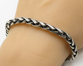 925 Sterling Silver- Vintage Minimalist Braided Style Chain Bracelet - B... - $121.03