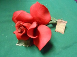 """Beautiful Collectible CAPODIMONTE """"Napoli"""" Large RED ROSE and Stem Figurine - $16.83"""