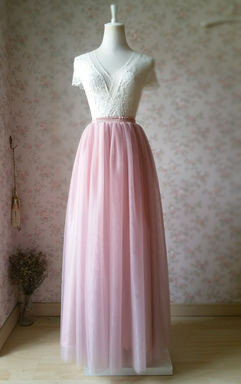 DUSTY PINK High Waisted Long Tutu Skirts Full Length Bridesmaid Tulle Skirts NWT