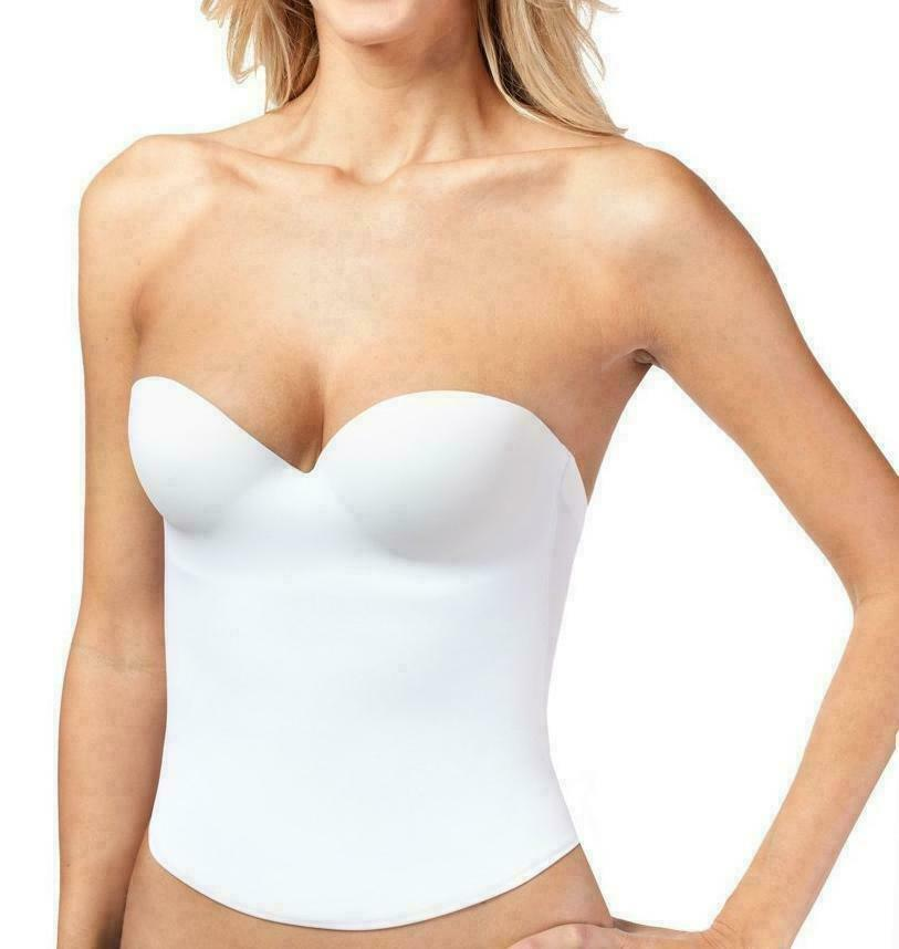 Women's Strapless Padded Push Up Shapewear Slimming Corset White #2052
