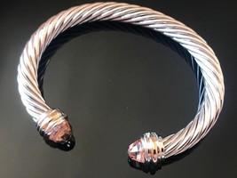 David Yurman Sterling Silver & 18k Gold MORGANITE 7mm Cable Classic Bracelet - $474.99