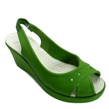 Crocs 8 Sandals Wedge Womens Green Sling Back Peep Toe 3 Inch - $56.10