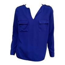 Monteau Womens Blue Y-Neck Long Sleeve Top Blouse Sz M - $9.90