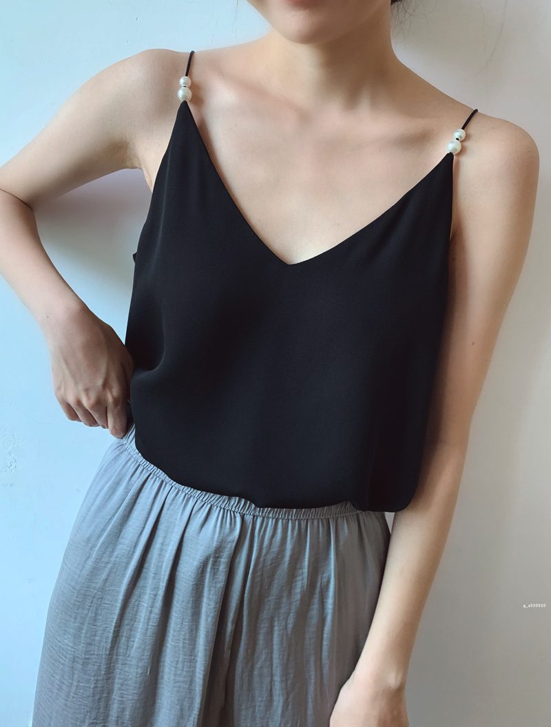Women Black Chiffon Top Sleeveless V-Neck Summer Chiffon Tank Tops Pearl Deco