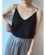 Women Black Chiffon Top Sleeveless V-Neck Summer Chiffon Tank Tops Pearl Deco  - $22.50