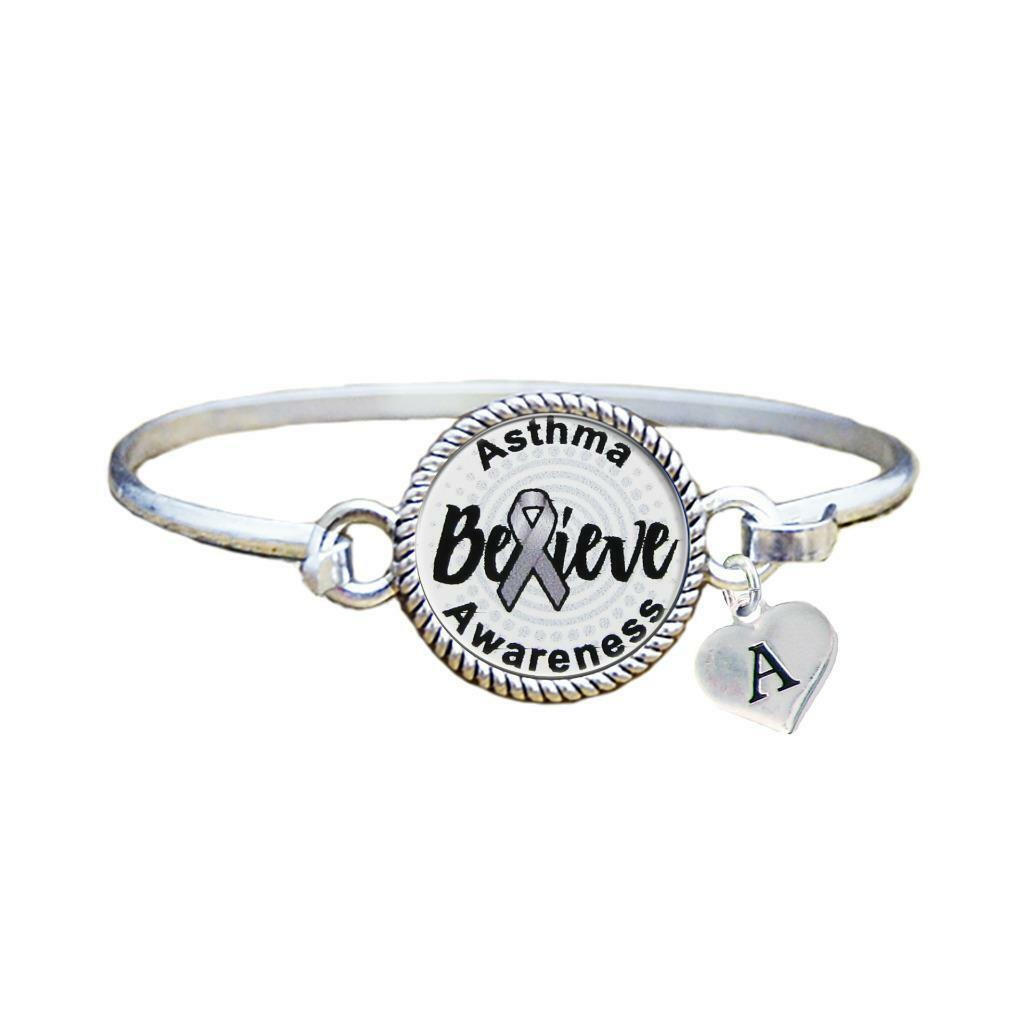 Primary image for Custom Asthma Awareness Believe Silver Bracelet Jewelry Choose Initial Family