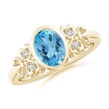 Vintage Style Bezel-Set 1.5ct Oval Swiss Blue Topaz Ring Gold/Platinum - $616.52+