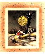 Big Moon Cottage Trees Snow Vintage Christmas Image Digital Art - $8.62 CAD