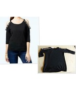 $69.00 Jessica Simpson Plus Size Amy Embellished Cold-Shoulder Top, Blac... - $19.06